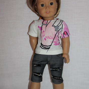 "18 inch doll clothes, graphic print ""bling ring"" t- shirt, grey ripped knee length capris, american girl ,maplelea"