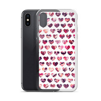 Crystal Hearts Pattern - iPhone X & All Apple iPhone Cases - Transparent