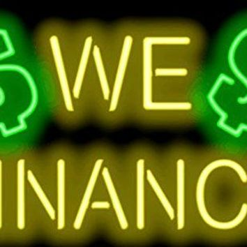We Finance GLASS Tube neon light sign Handcrafted Automotive signs Shop Store man cave bar gas oil