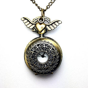 Pocket Watch Necklace - Steampunk Pocket Watch Necklace - Heart Necklace - Steampunk Necklace - Watch Necklace - Pocket Watch Necklace