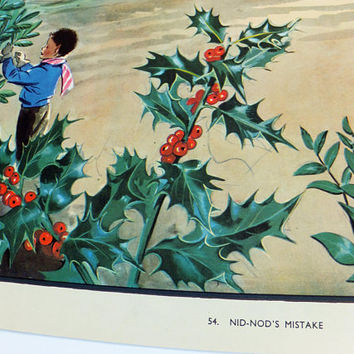 Enid Blyton poster, Nid Nod's Mistake, Christmas decor, Holidays decoration, Holly, Eileen Soper Schoolroom poster