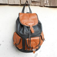 Vintage Two Tone Brown and Black Leather Backpack , Leather Rucksack // Medium - Large