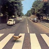 Why did the chicken cross THE road? Art Print by John Medbury (LAZY J Studios)