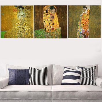 2017 Modular pictures 3 Piece Gustav Klimt Kiss Prints Painting Abstract Canvas Art Home Decoration Picture Wall Pictures For Li