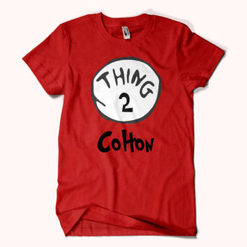 """Personalized Thing 1,2,3,4,5"""" Dr Seuss  shirt with name. custom  shirt."""
