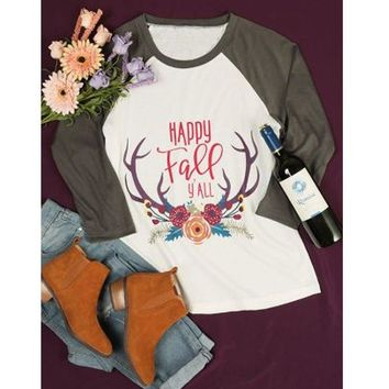 Christmas Elk Print Women Casual Long Sleeve Stitching T-shirt Tops