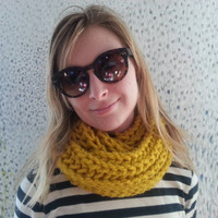 Mustard yellow chunky knit scarf cowl, soft, squishy and warm  ready to ship COUPON AVAILABLE