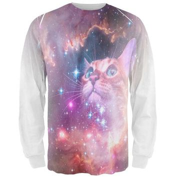 VONEG5F Galaxy Cat All Over Adult Long Sleeve T-Shirt