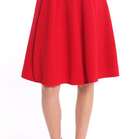 RED EMBOSSED FLARED MIDI SKIRT