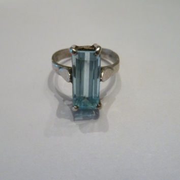 Vintage Blue Topaz Sterling Silver Mexican Ring 925 Emerald Cut Stone Size 7 Mexico Jewelry Southwesten