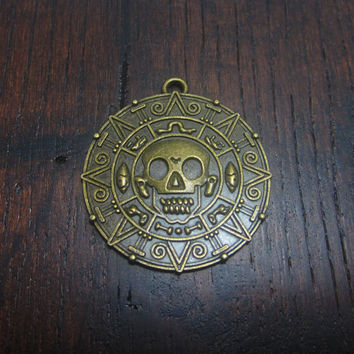 1 Pirate Medallion Charm Skull Aztec Ruins Treasure Very Large Pendant  110A