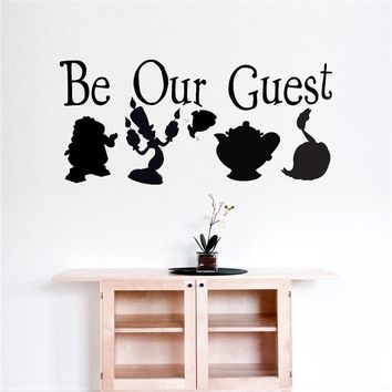 Beauty And The Beast Be Our Guest Wall Sticker Art Decal Wall Sticker Decal Art Home Decor Removable Wall Vinyl Sticker D184