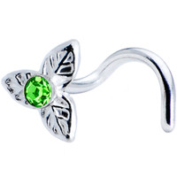 Sterling Silver Peridot Three Petal Flower Nose Ring Made with SWAROVSKI ELEMENTS | Body Candy Body Jewelry