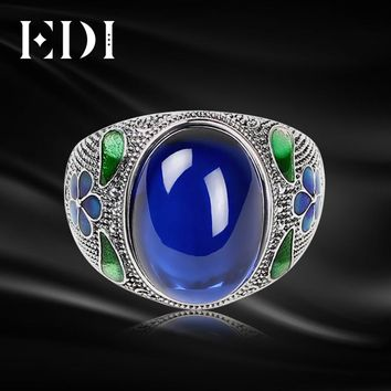 EDI Leaf 10CT Sapphire Vintage Cloisonne Indian Ring 925 Sterling Silver Blue Corundum Jewelry For Women Royal Filigree Enamel