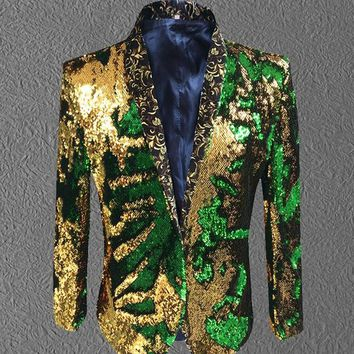 mermeid sequins jacket coat blazer male gold green costumes prom wedding groom fashion outfit purple singer black party stage