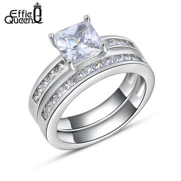 Effie Queen 2017 New Trendy Woman Finger Ring with 0.8 ct Princess Cut Cubic Zirconia Women Wedding Ring Set, 2 Piece/Set DR28