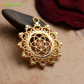 "8SEASONS Zinc Based Alloy Seed Of Life Pendants Flower Gold Plated Hollow Carved 34mm(1 3/8"") x 30mm(1 1/8""), 5 PCs"