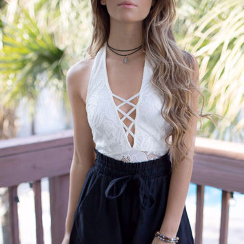 Bayfield White Halter Neck Lace Top