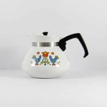 Vintage Corning Country Festival 6 Cup Teapot, Bird Pattern, Penn Dutch, Corningware, Blue Red Green