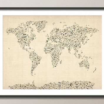 Music Notes Map of the World Map Art Print by artPause on Etsy