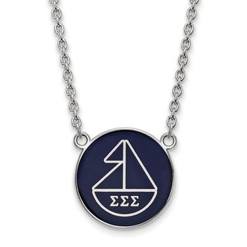Sterling Silver Sigma Sigma Sigma Large Enamel Necklace