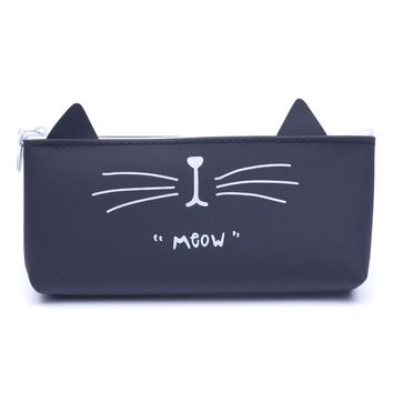Kawaii Cute Cat Pencil Case Made Of Silica Gel
