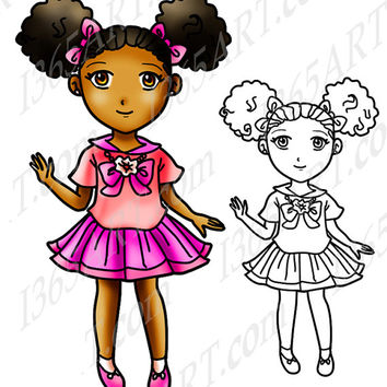 Digital Stamp, Coloring Page Line Art Manga Character and Clipart, Cute Scool Girl Afro Puffs Pink uniform Anime Chibi 8 x 10.2 Download