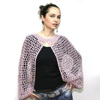 Summer Shrug, Lace Shrug, Hand Knit Shrug, Summer Sweater by Solandia, Hemp and Cotton Shrug, Women Fashion, rose dust, summer, boho