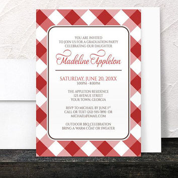 Red Gingham Graduation Party Invitations - Red and White Pattern with Brown - Printed Invitations