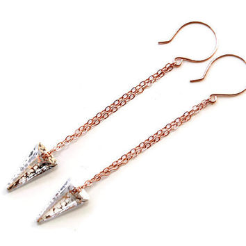 Rose gold long chain earrings. Spike rose gold modern earrings. 3.5 inch long earrings with swarovski spike beads on rose gold chain, trends