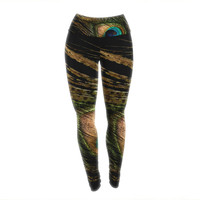 "Alison Coxon ""Peacock Black"" Yoga Leggings"