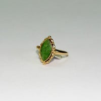 Size 5.5- 10K Gold Vintage and Marquee shaped Jade Ring  - FREE US Shipping