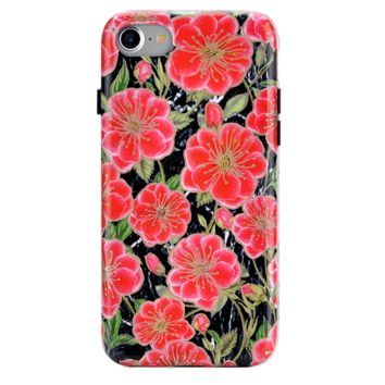 Black Hibiscus Rose Gold Chrome Floral iPhone Case