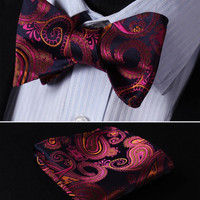 Pink, purple, Floral 100% Silk Butterfly Tie Self Tie Bow Tie Pocket Square Bow