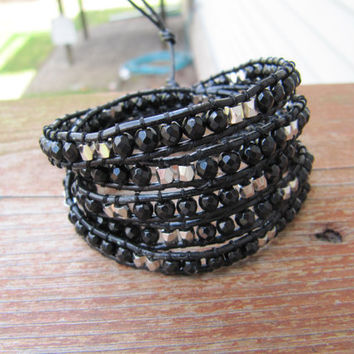 Beaded Leather Wrap Bracelet 5 x Midnight Facted Jade and Silver Nugget - Chan Luu Style