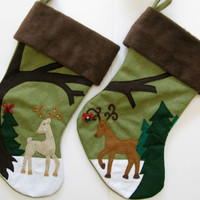 "Mr. and Mrs. Christmas Stockings : ""Dear, Deer Couple"""
