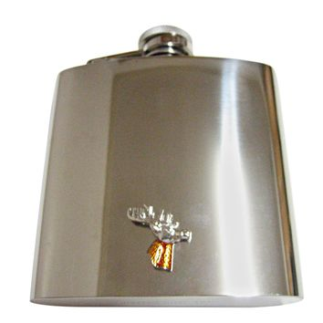 Colored Stag Deer Head 6 Oz. Stainless Steel Flask