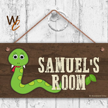 "Snake Sign, Woodland Personalized Sign, Kid's Name, Kids Door Sign, Baby Nursery Wall Decor, Weatherproof, 5"" x 10"" Sign, Made To Order"