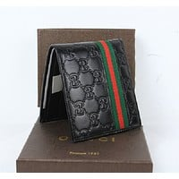 Gucci Men's Black Leather Guccissima Web Bifold Wallet NWT