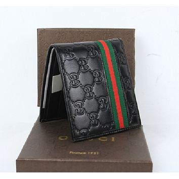 22d688cd30ec02 NEW Gucci Men's Black Leather Guccissima Web Bifold Wallet