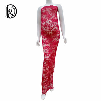 (150cm) Maternity Lace Maxi Long Dress Close-Fitting Sheath Style Free Size For Photography Props