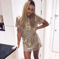 Fashion O Neck Short Sleeve Gold Sequined Party Dresses Women 2017 Summer Style Casual Vestido Sexy Split Mini Club Dress