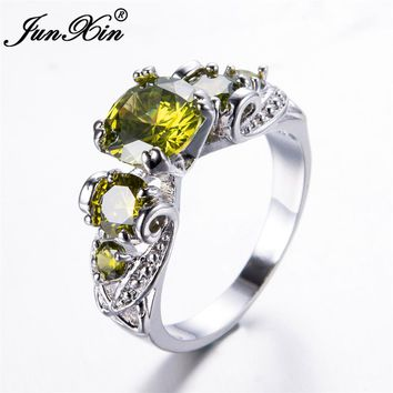 JUNXIN Female Peridot Round Ring 2017 New Fashion White Gold Filled Jewelry Vintage Wedding Rings For Women Birth Stone Gifts
