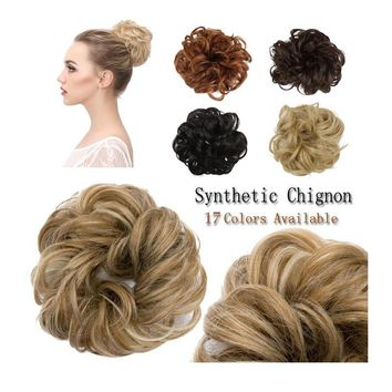 17 Color  Fashion Synthetic Hair Chignons Elastic Extensions Hair Ribbon Ponytail Hair Bundles Updo Hairpieces Hair Buns