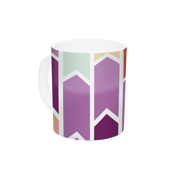 "Pellerina Design ""Orchid Geometric Chevron"" Purple Arrows Ceramic Coffee Mug"