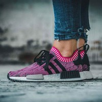 Best Online Sale Adidas NMD R1 PK Shock Pink Rose Glitch Black BB2363 Boost Sport Running Shoes Classic Casual Shoes Sneakers