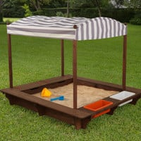 KidKraft Cabana Sandbox - Gray & White Stripes - 00509