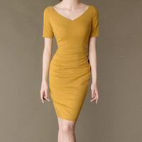 Yellow easywear v-neck slim evening dress winter dress autumn dress office lady dress noble women dress short sleeve
