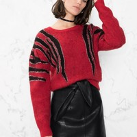 & Other Stories | Zebra Shoulder Sweater | Red