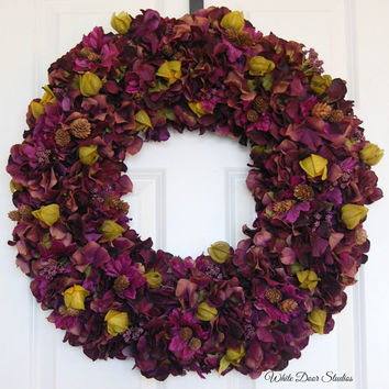 Plum Hydrangea Wreath, Front Door Wreath, Fall Wreath, Winter Wreath, Thanksgiving Wreath, Purple